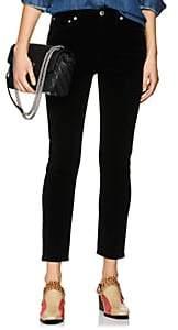 RE/DONE Women's Velvet High-Rise Ankle Crop Pants-Black