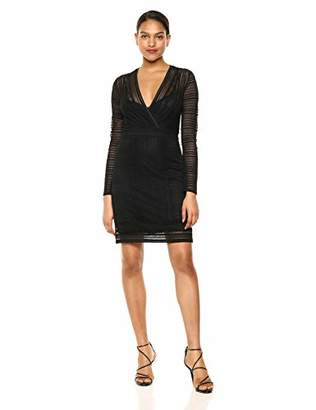 afc39f2310c BCBGMAXAZRIA Azria Women s Mixed Lace Faux Wrap Dress