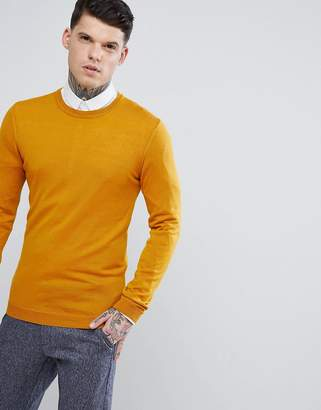 Asos Muscle Fit Merino Wool Jumper In Mustard