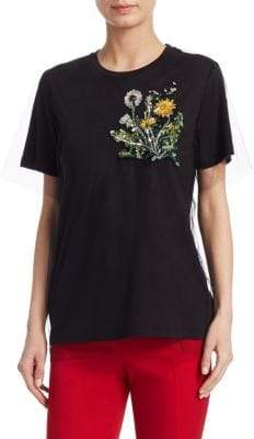 Oscar de la Renta Women's Dandelion-Embroidered Tee - Black - Size Small
