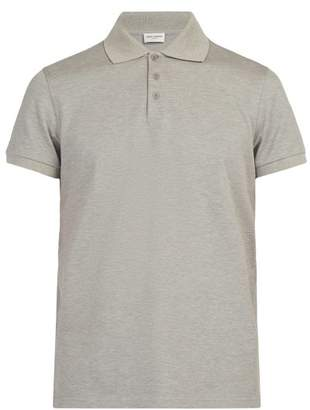 Saint Laurent Cotton Pique Polo Shirt - Mens - Grey