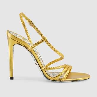 Gucci Braided metallic leather sandal