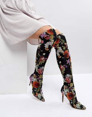 Miss Selfridge Floral Print Over The Knee Boots
