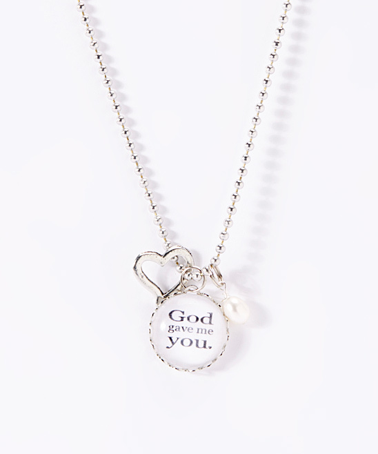 Silver 'God Gave Me You' Charm Pendant Necklace
