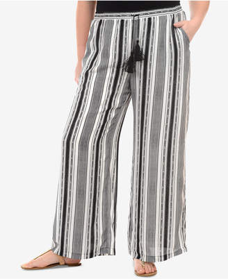 NY Collection Plus Size Striped Palazzo Pants