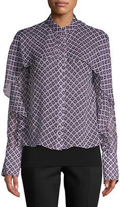 Diane von Furstenberg Ruffled Silk Top