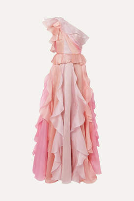 Marchesa One-shoulder Ruffled Silk-organza Gown - Pink