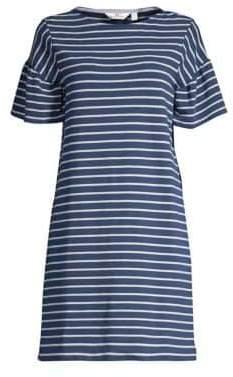 Vineyard Vines Striped Knit Ruffle-Sleeve Shift Dress