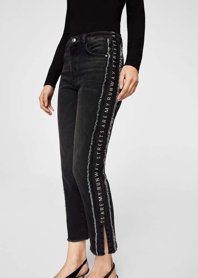 Skinny Jeans mit Schriftzug-Einsätzen