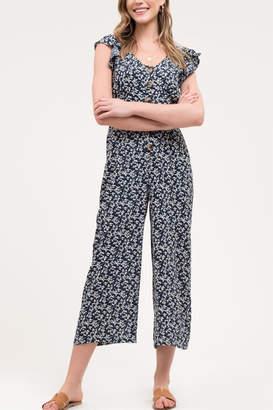 Blu Pepper Button-Down Floral Jumpsuit