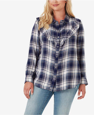 Jessica Simpson Trendy Plus Size Petunia Plaid Ruffle Shirt