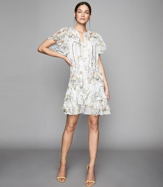 6f62d8282c5731 Reiss JUNO FLORAL PRINTED MINI DRESS White