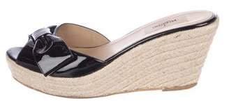 Valentino Peep-Toe Patent Leather Wedges