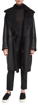 Vince Leather Shearling Fur-Lined Reefer Coat $2,495 thestylecure.com