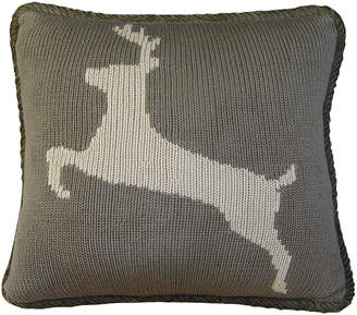 """Hiend Accents 17""""x17"""" Knitted Deer Pillow"""