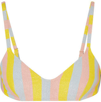Solid & Striped The Rachel Glittered Striped Bikini Top - Yellow