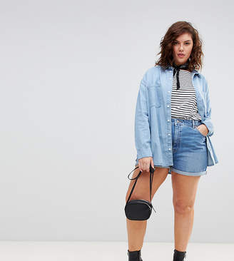 Asos DESIGN Curve denim Ritson mom short in vintage blue