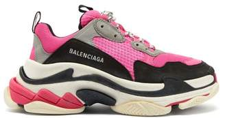 Balenciaga Triple S Low Top Leather Trainers - Womens - Black Pink
