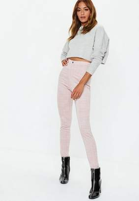 Missguided Pink Dogtooth Leggings