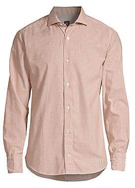 Eleventy Men's Melange Cotton Stripe Button-Down Shirt
