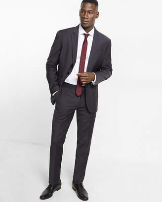 Express Slim Charcoal Gray Performance Stretch Wool-Blend Suit Pant
