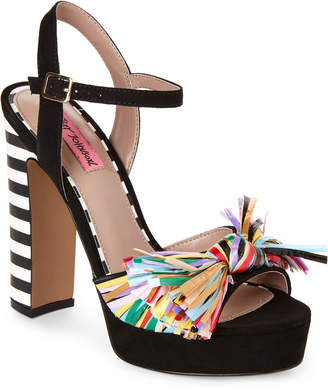 Betsey Johnson Black Mandy Platform Block Heel Sandals