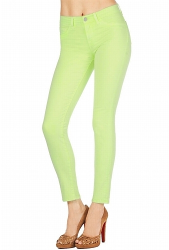 J Brand 811 Mid-Rise Skinny in Neon Yellow