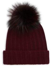 Saks Fifth Avenue Dyed Fox Fur and Cashmere Soft Cap
