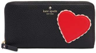 Kate Spade Lacey Heart Zip Around Leather Wallet