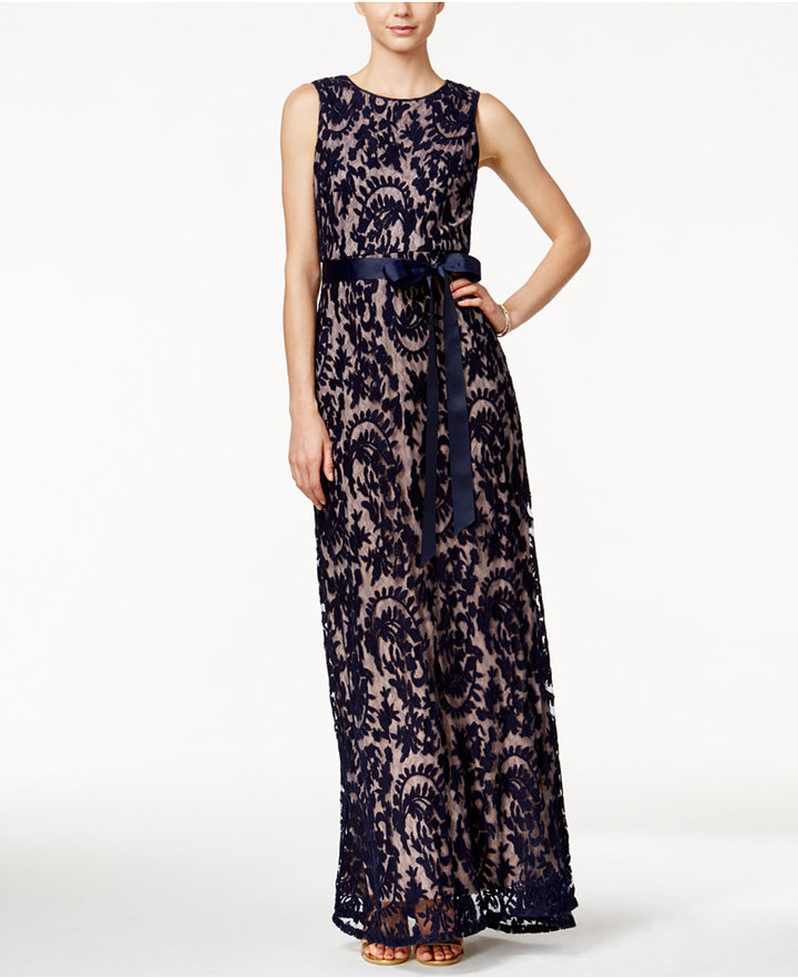 Adrianna Papell Sleeveless Lace Gown