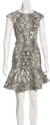 Yigal Azrouel Leather-Trimmed Jacquard Dress