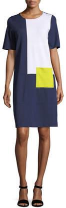 Joan Vass Colorblock Short-Sleeve Pocket Dress, Petite