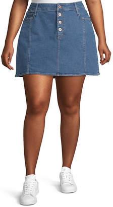 Arizona Womens Short Denim Skirt-Juniors Plus