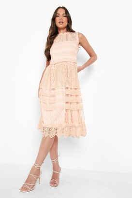 boohoo Boutique Lace Midi Skater Dress