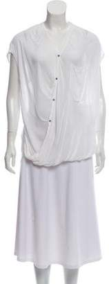 Helmut Lang Short Sleeve High-Low Blouse w/ Tags