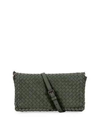 Bottega Veneta Small Intrecciato Flap Clutch Bag w/Strap, Gray