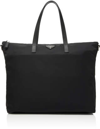 82240bd4b39d3e Prada Leather-Trimmed Nylon Tote Bag