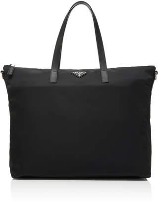 846290b3fe62 Prada Leather-Trimmed Nylon Tote Bag