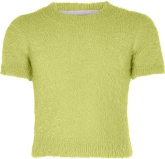River Island Girls Green fluffy knit T-shirt