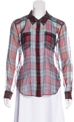 Elizabeth and James Sheer Plaid Button-Up Top