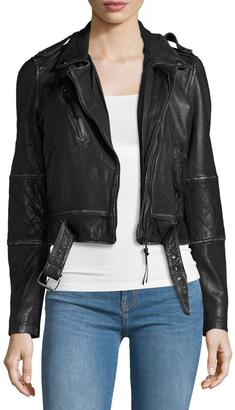 Nicole Miller Artelier Leather Belted Moto Jacket, Black $359 thestylecure.com