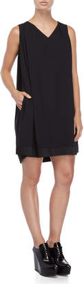 Jil Sander Navy Black V-Neck Shift Dress