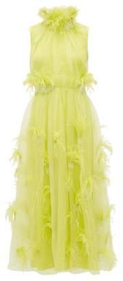 Roksanda Karea Feather And Beaded Silk Organza Gown - Womens - Green