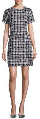 Kate Spade New York Short-Sleeve Plaid Tweed Dress, Black/Gray $428 thestylecure.com