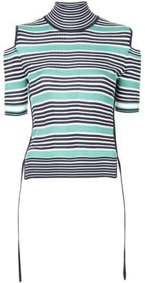 Fendi striped cold shoulder top