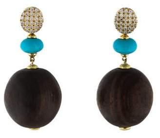 18K Wood, Turquoise & Diamond Drop Earrings