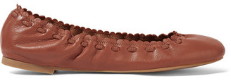 See by Chloé - Scalloped Textured-leather Ballet Flats - Brown $235 thestylecure.com