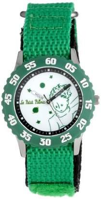 EWatchFactory Little Prince Kids' W000812 Stainless Steel Time Teacher Green Numberals Bezel Green Velcro Strap Watch