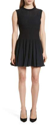 Theory Check Knit Fit & Flare Dress