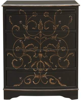 Generic Black Hand Painted Curved Front Drawer Chest